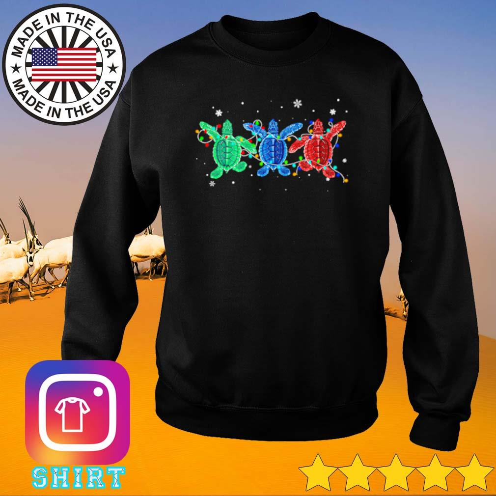 Three turtles green blue and red light Christmas sweater