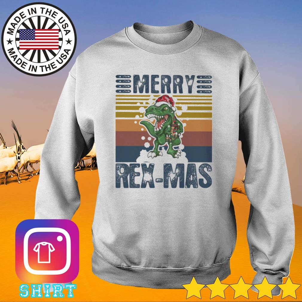 Vintage dinosaur Merry Rex-Mas Santa hat Christmas sweater