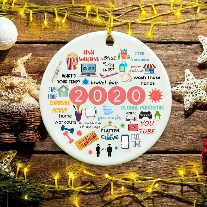 2020 Annual events stay home Binge-watching zoom Christmas ornament