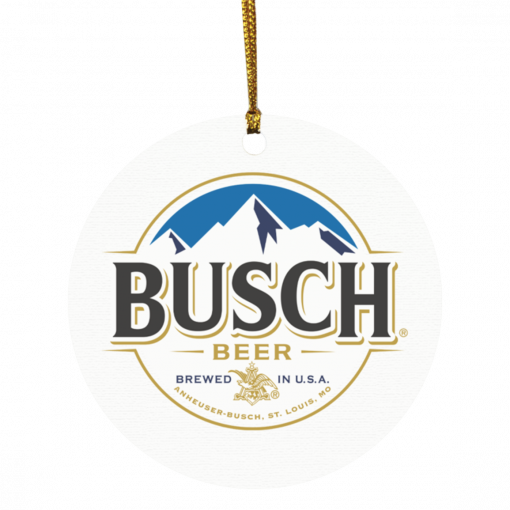 Busch beer Brewed in USA Christmas circle ornament