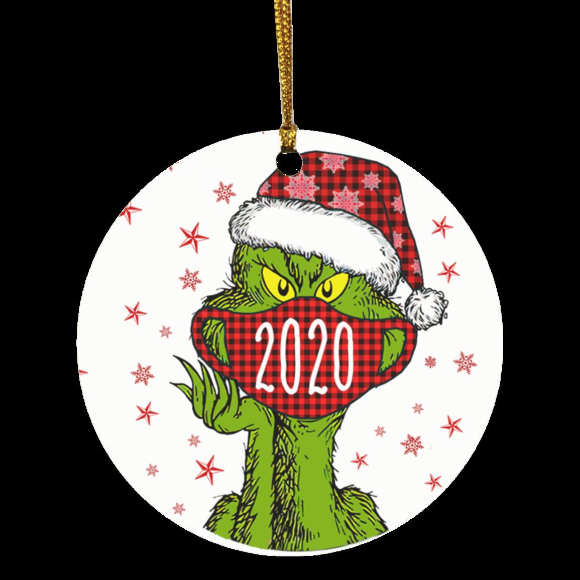 Christmas Grinch Santa face mask 2020 quarantine ornament