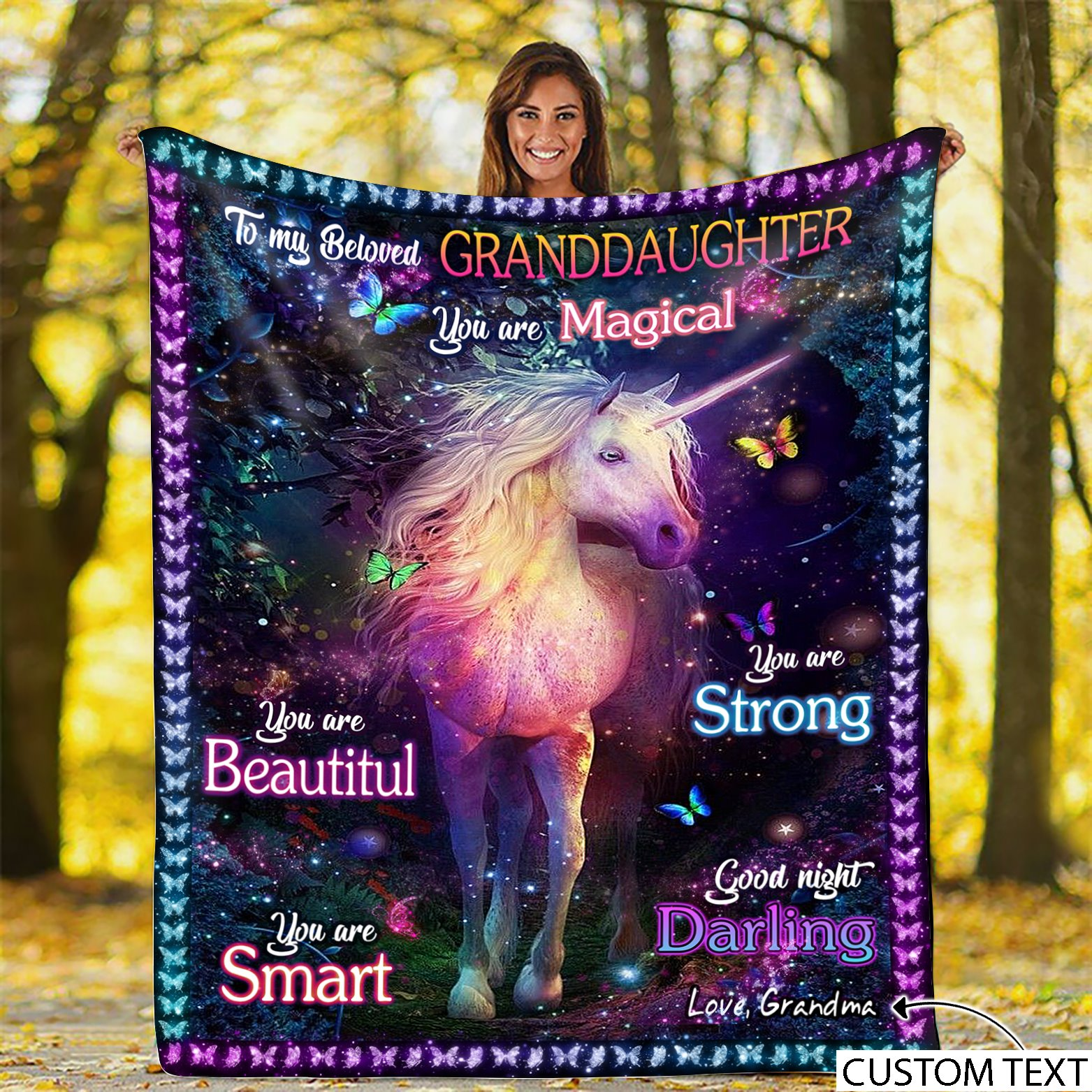 Personalized horse to my beloved granddaughter you are magical you are beautiful strong smart fleece blanket