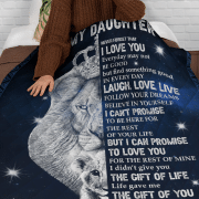 The Lion King to my daighter I love you laugh love live I can't promise but I can promise to love you fleece blanket