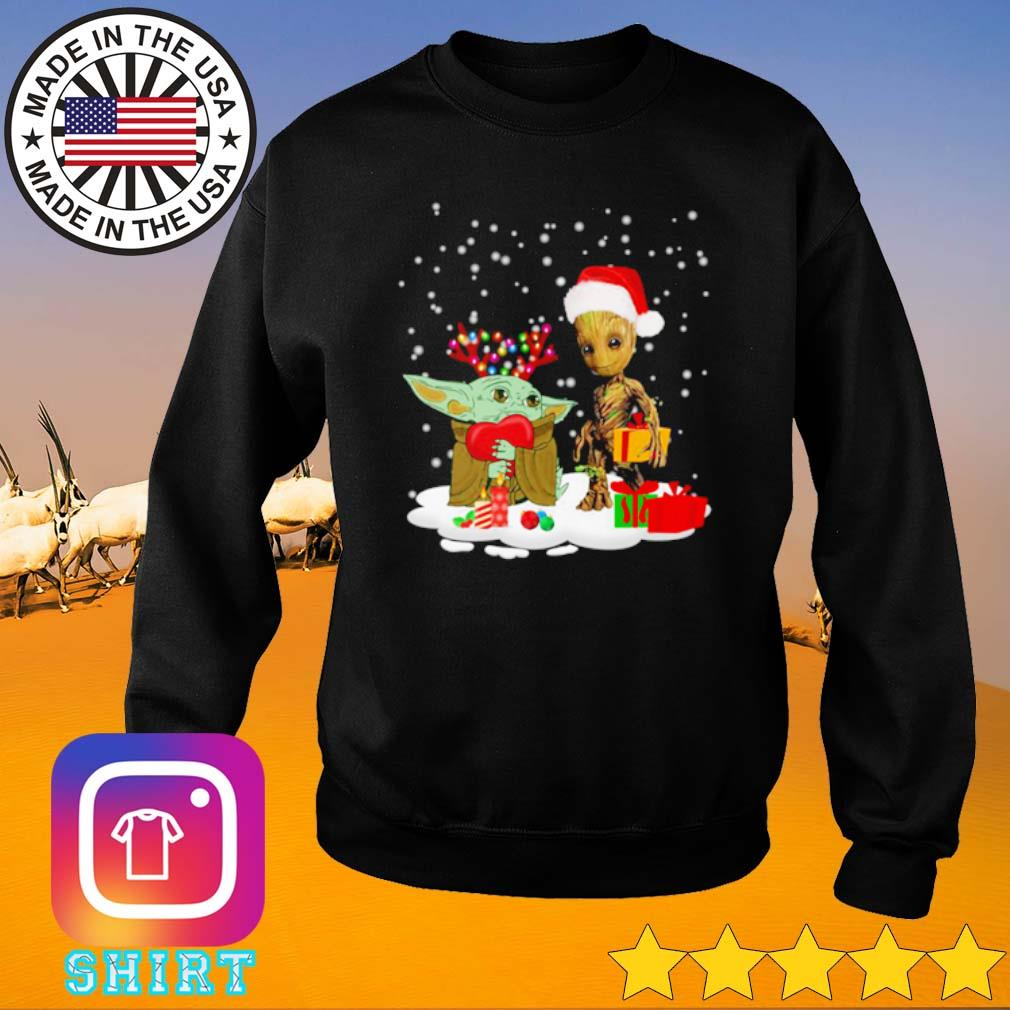 Baby Yoda and Baby Groot snow Christmas sweater