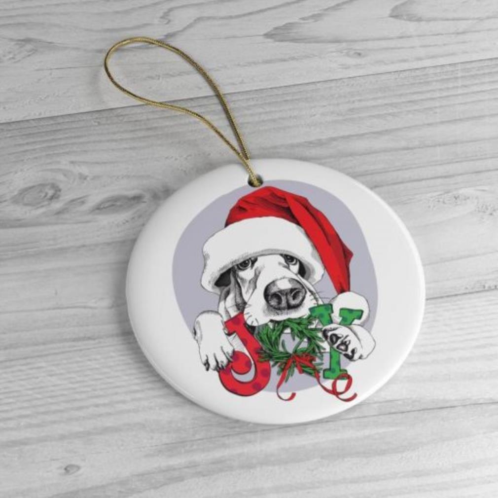Basset hound Christmas circle ornament