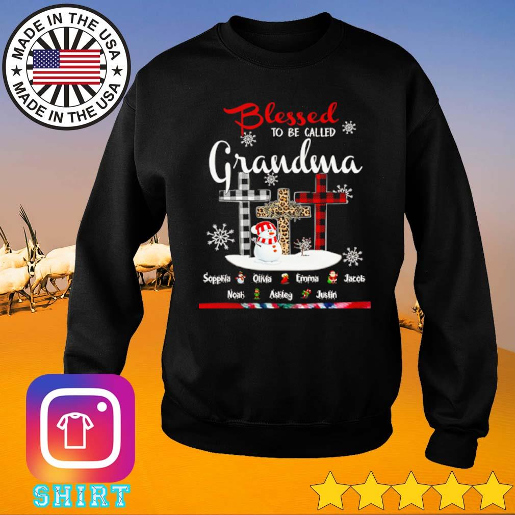 Blessed to be called Grandma snowman leopard red and white buffalo plaid Christmas sweater