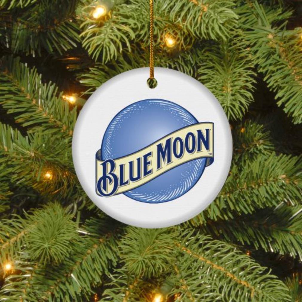 Blue moon Christmas circle ornament