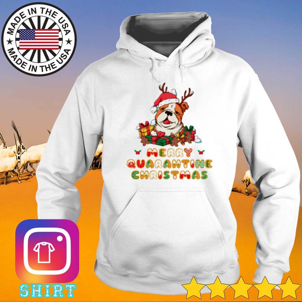 Bulldog Santa hat merry quarantine Christmas gift sweater Hoodie