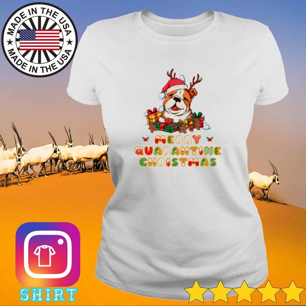 Bulldog Santa hat merry quarantine Christmas gift sweater Ladies tee