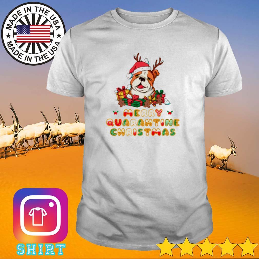 Bulldog Santa hat merry quarantine Christmas gift sweater shirt