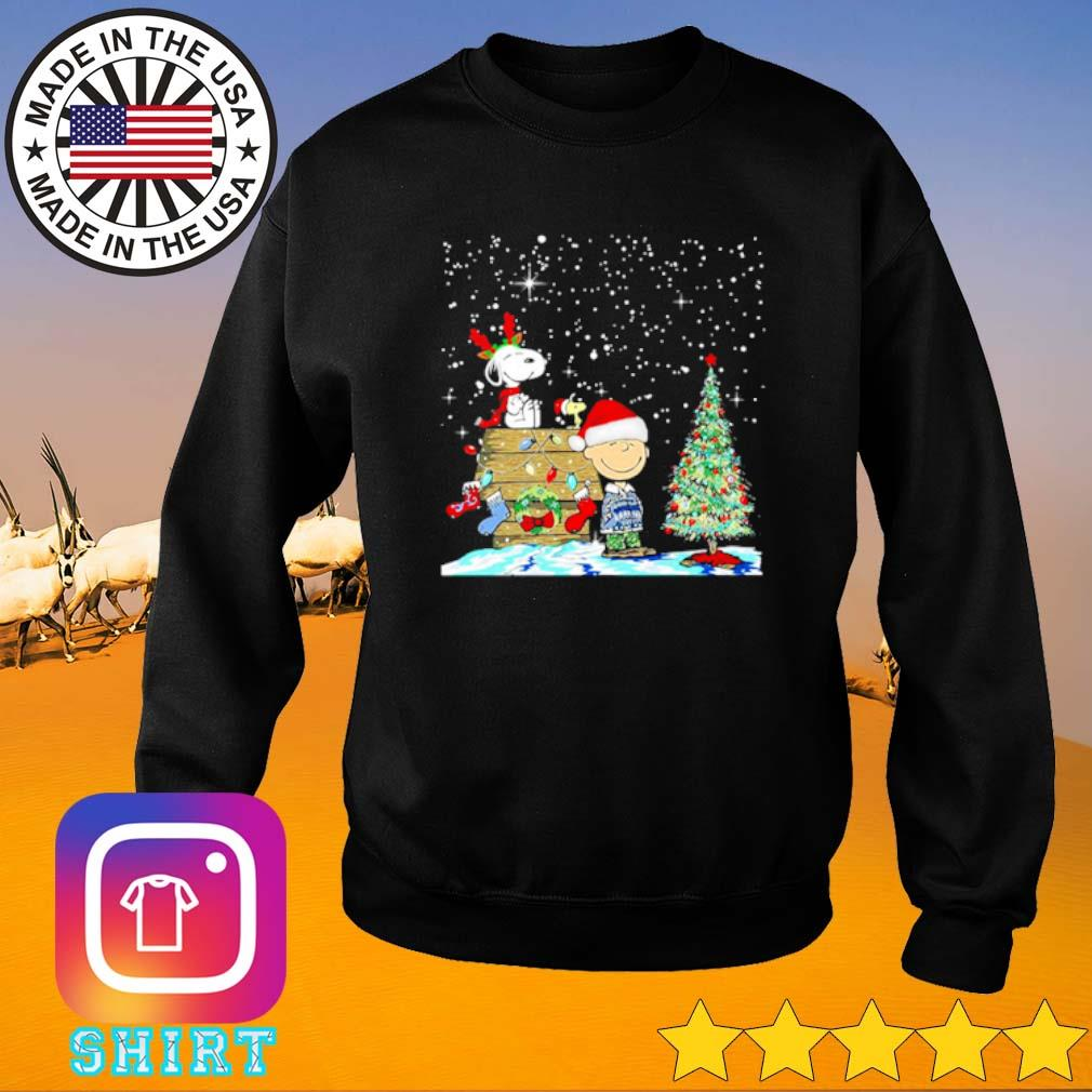 Charlie Brown and Snoopy Christmas house and tree sweater