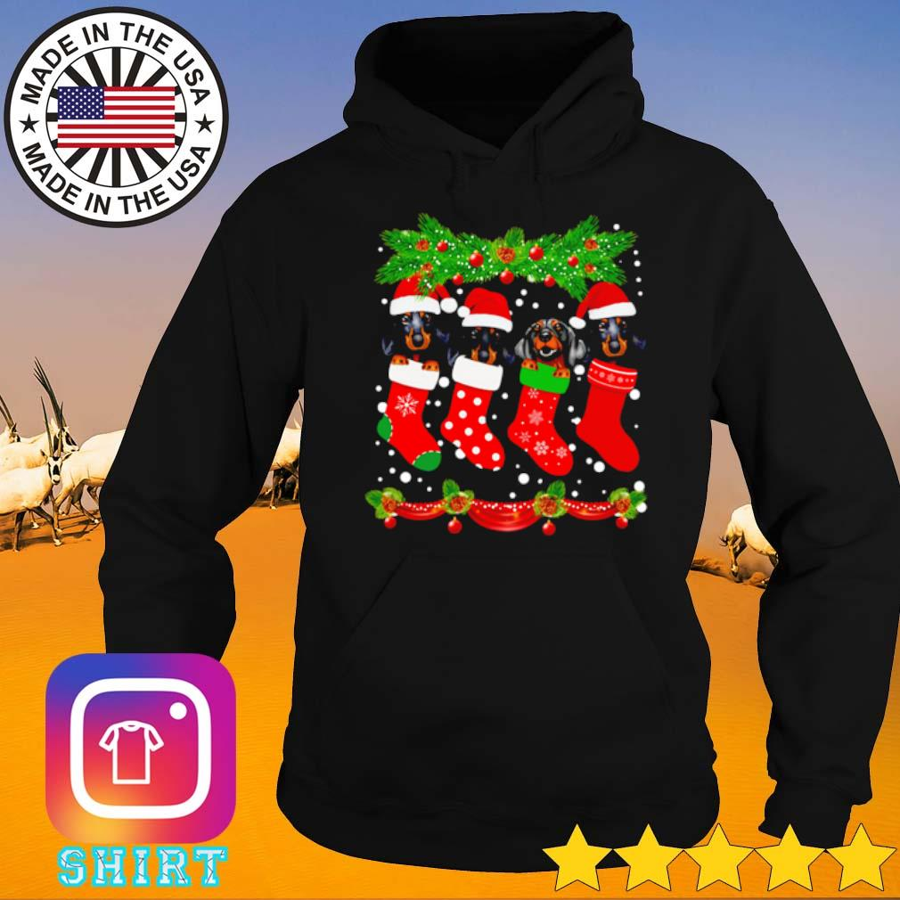 Dachshunds Santa hat in socks crew neck merry Christmas sweater Hoodie