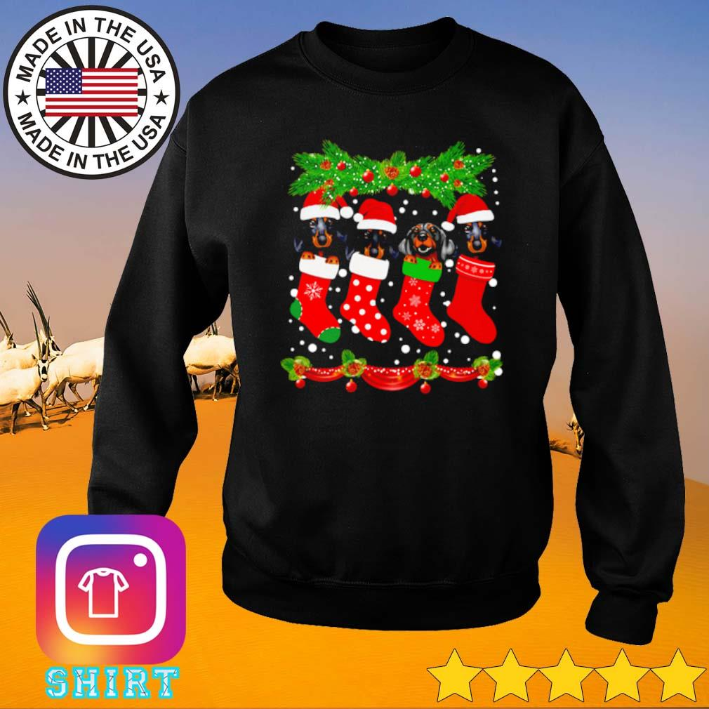 Dachshunds Santa hat in socks crew neck merry Christmas sweater