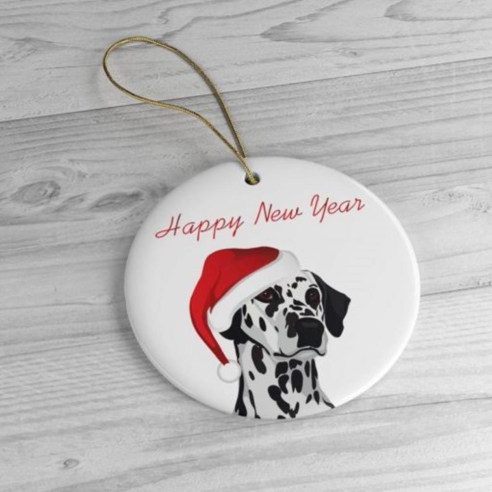 Dalmatian happy new year Christmas ornament