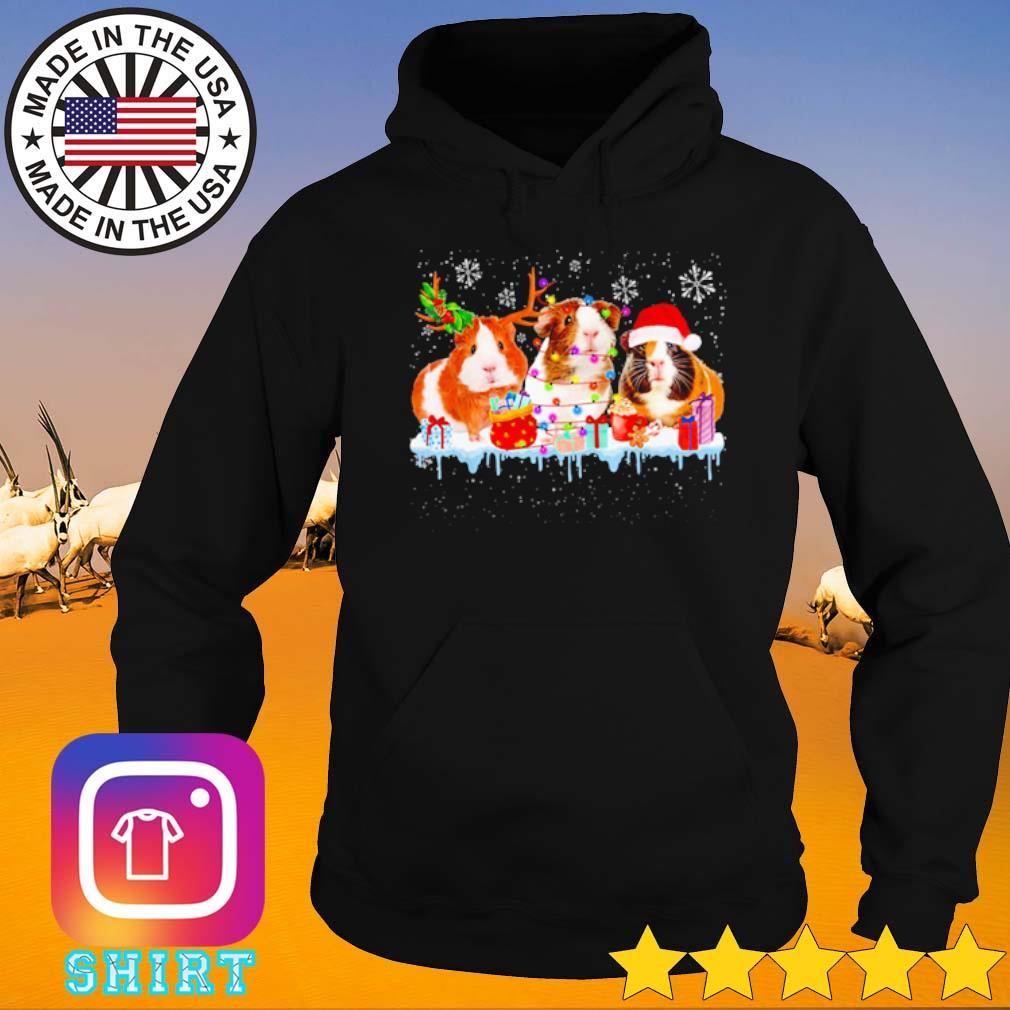 Guinea Pig reindeer Santa hat Christmas lights gift sweater Hoodie