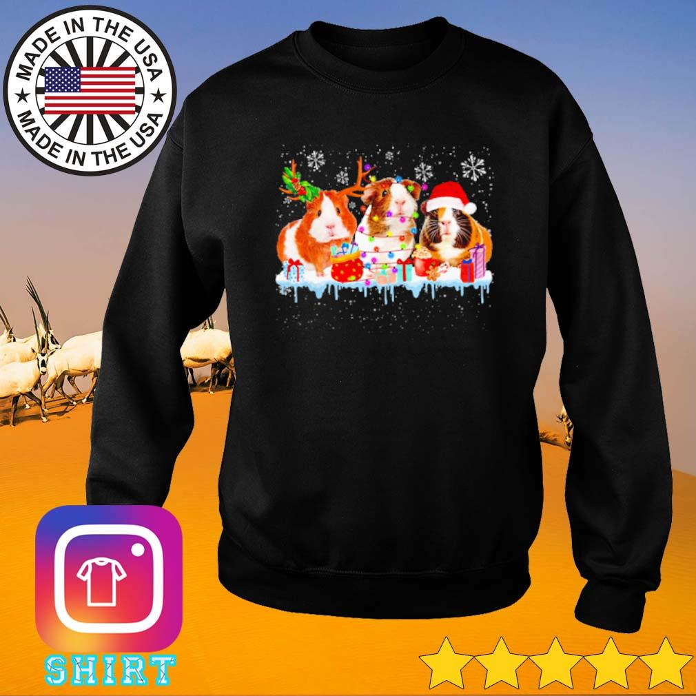 Guinea Pig reindeer Santa hat Christmas lights gift sweater