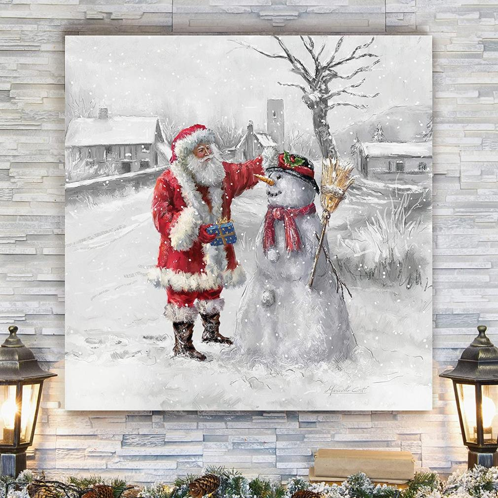 Joyful Santa Claus and snowman Christmas wrapped canvas