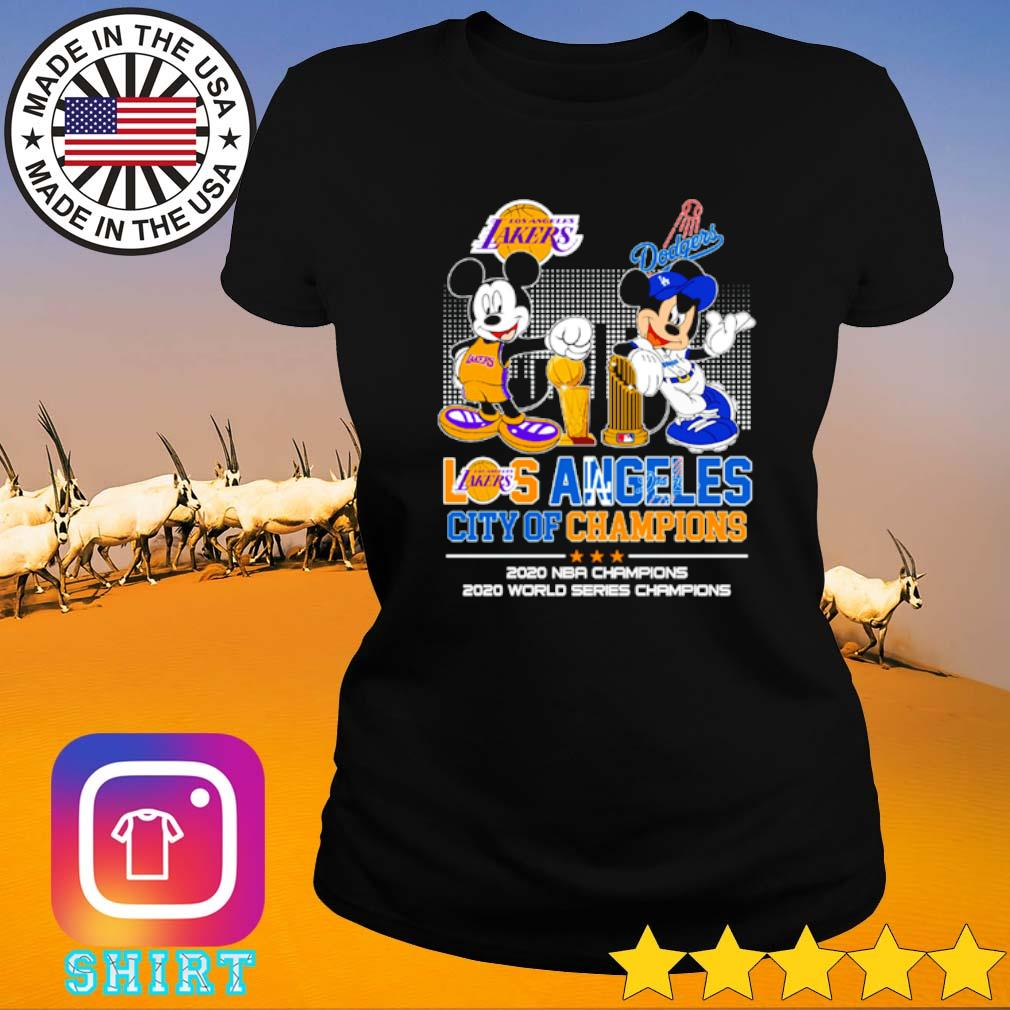 Mickey and Minnie Mouse Los Angeles city of champions 2020 NBA Champions 2020 world series champions s Ladies tee