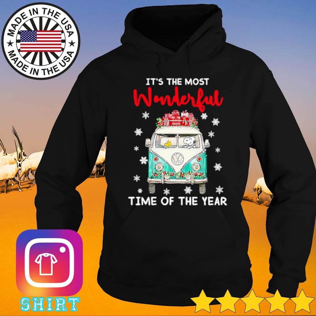 Snoopy and Charlie Brown driving hippie car it's the most wonderful time of the year Christmas sweater Hoodie