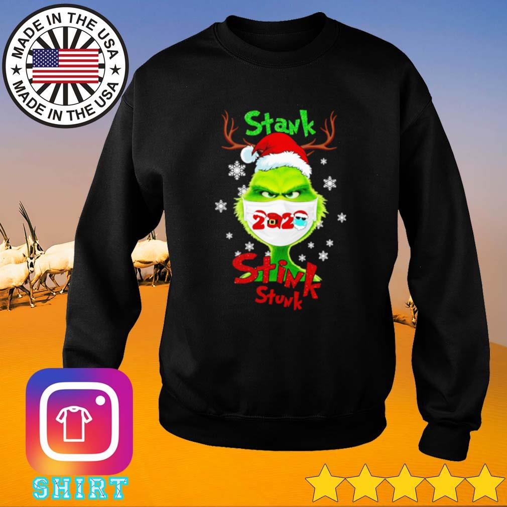Stink stank stunk Grinch face mask 2020 Santa hat Christmas sweater