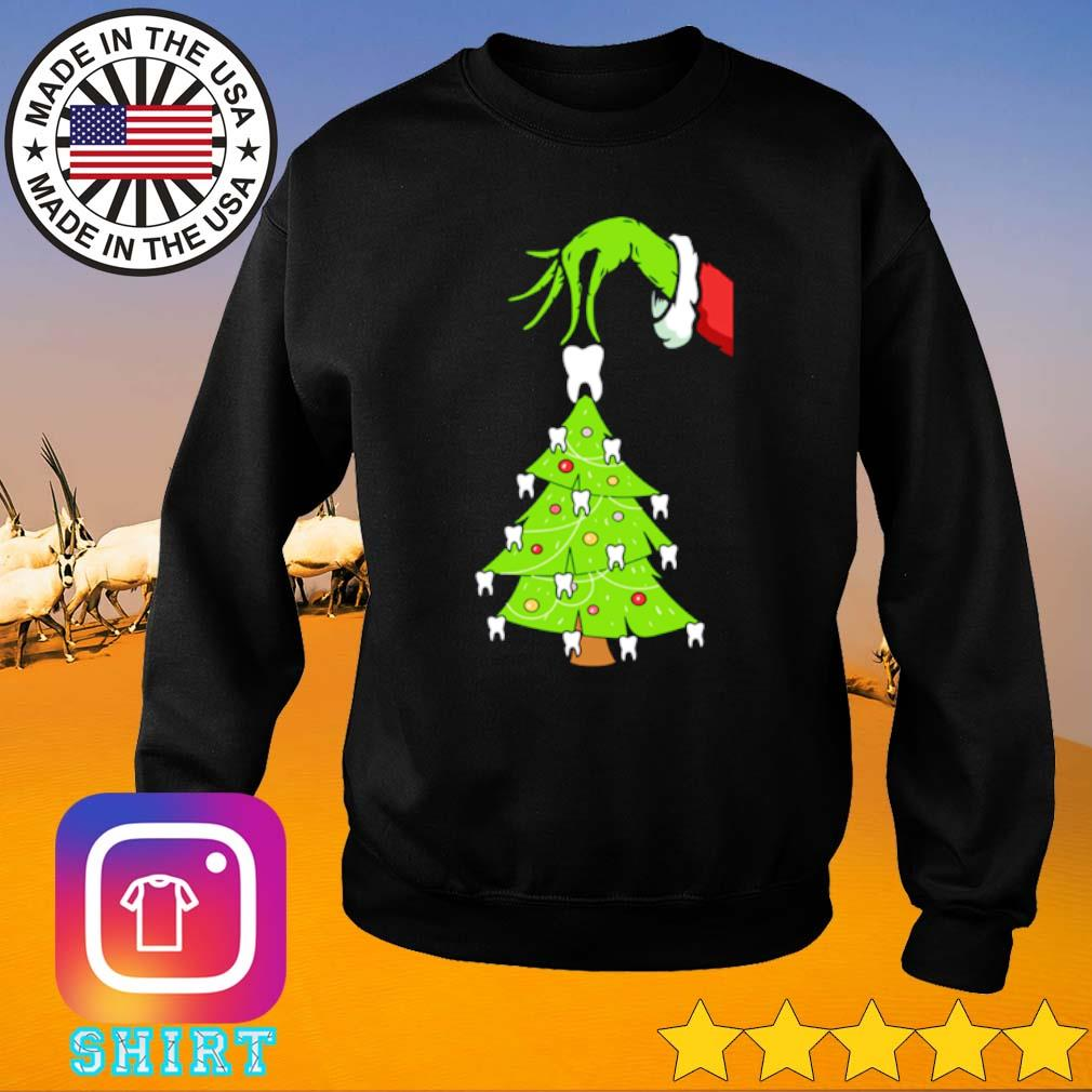The Grinch hand who stole tooth dental Christmas tree sweater