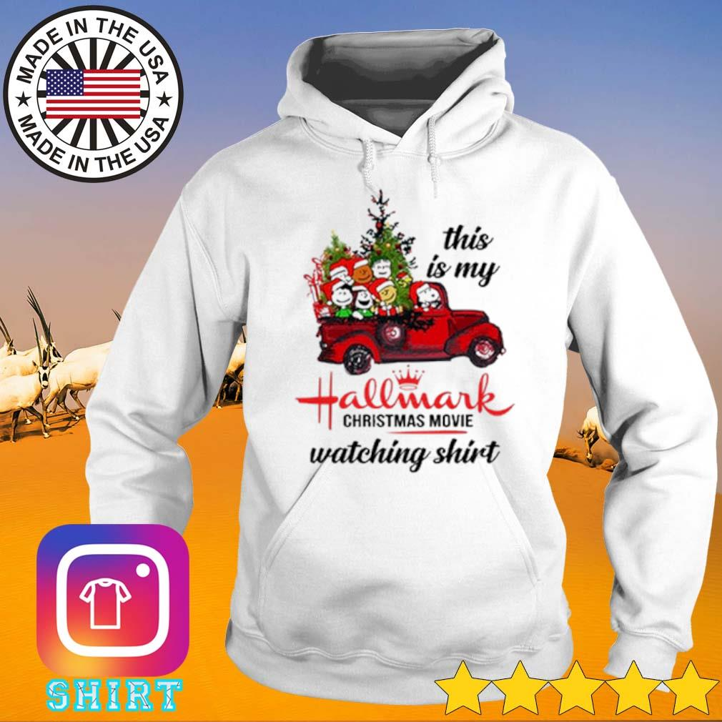 The Peanuts Snoopy driving red truck this is my hallmark Christmas movie watching sweater Hoodie